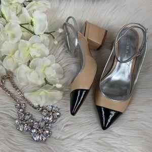 Zara Contrast Cap Toe Ankle Strap Heels 35
